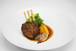 Roasted rack of lamb with sweet potato purée & red wine jus.