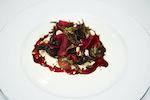 Pickled beetroot salad with goats curd and walnuts.